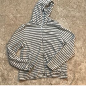Theory gray  & white hooded sweatshirt , XL